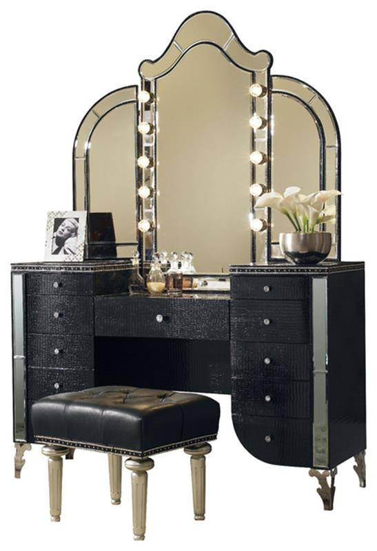 bedroom vanity set with lights around mirror 2 - gongetech